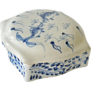 Porcelain Box Blue White with Koi Fish Chinese