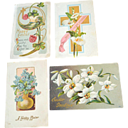 Four Easter Postcards Embossed Flowers