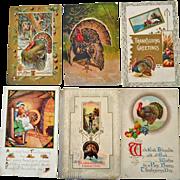 Six Thanksgiving Turkey Postcards