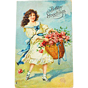 Postcard Girl Rose Basket Embossed
