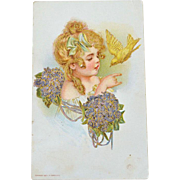 Postcard Pretty Young Girl with Dove and Violets