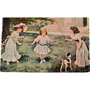 Postcard Girls Jumping Rope with Dog Mustard Vinegar