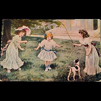 Postcard Girls Jumping Rope with Dog Mustard Vinegar