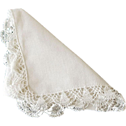White Handkerchief with Crochet Trim