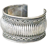 Wide Cuff Ribbed Bracelet