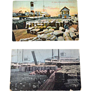 Two Postcards New Orleans Waterfront Cotton Bales