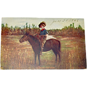 Postcard Cowgirl Looking for Game