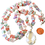 Necklace Crystal Pendant Freshwater Pearls  Stone 32 Inches