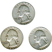 Silver Quarters 1956P Three