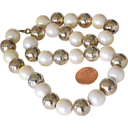 Necklace Large Silver Faux Pearl Beads on Chain
