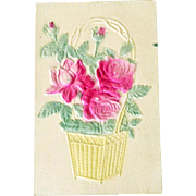 Postcard Basket Flocked Roses on Silk