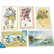 Five Postcards Easter Crosses Flowers Four Embossed