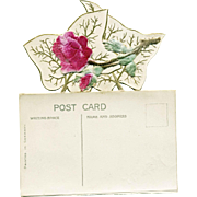 Postcard Flocked Roses with Flap