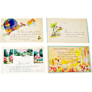 Four Religious Postcards Sunshine Line Unused