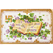 Postcard with Swastika and Glitter Flowers