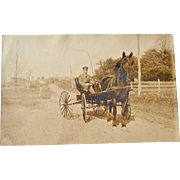 Postcard Man Driving Horse and Cart Carriage