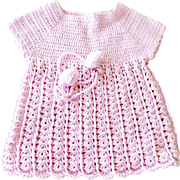 Doll Baby Hand Crochet Dress Dusty Pink