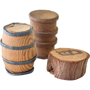 Three Miniatures Wood Barrels and Slab