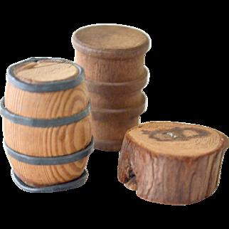 Three Miniatures Wood Barrels and Slab