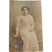 RPPC Woman in an Elaborate Victorian Dress