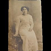 RPPC Woman in an Elaborate Victorian Dress