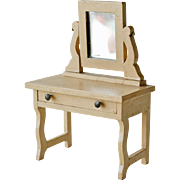 Doll Wood Dressing Table Vanity with Mirror
