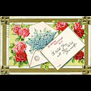 Postcard Birthday Swastika Roses