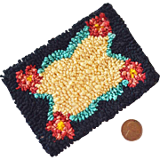 Miniature Rug for Dollhouse Hand Hooked Rectangular