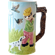 Porcelain Musical Stein Boy and Dog Pop Goes The Weasel
