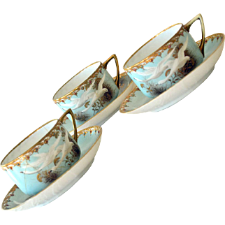 Nippon Flying Swan Cups and Saucers As Is Rare