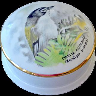 Limoges Porcelain Trinket Dresser Box with Bird