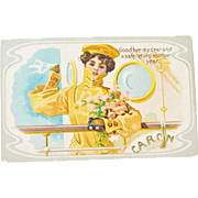 Postcard Girl on a Ship Caron