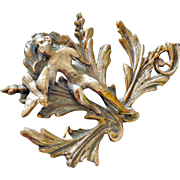 Metal Cherub Furniture Wall Ornament Mount