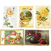 Five Embossed Postcards Roses One Silk Four German