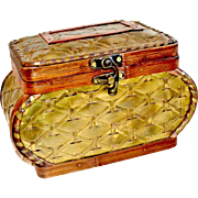 Vintage Woven Brass and Wood Jewelry or Sewing Box