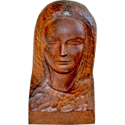 Carved Wood Bust of a Woman Barcelona Spain 1965 Signed