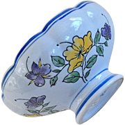 Vintage Chinese Pedestal Bowl Hand Painted Flowers