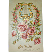 Postcard Embossed Lyre Pink Roses Lots of Gold