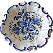 Small Blue and White Pottery Bowl Hand Painted Italy