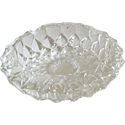 Heavy Glass Ashtray Dish Deep Cut Pattern