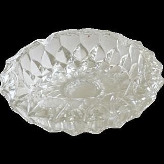 Heavy Glass Ashtray Dish Deep Cut Pattern
