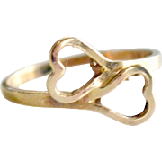 Ring Two Hearts 14k Gold