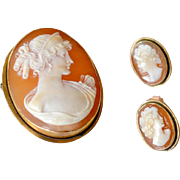 Cameo Set Pin Pendant Earrings 12k Gold
