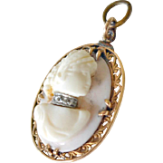 Cameo Pendant 10K Gold Diamonds Pale Pink