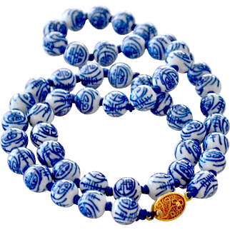 Necklace Chinese Blue White Porcelain Beads