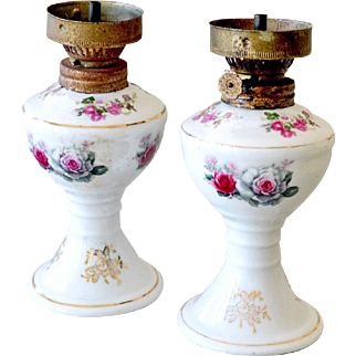 Pair Porcelain Oil Lamps with Roses