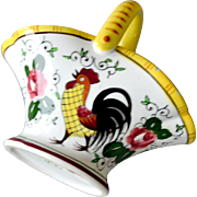 Porcelain Basket with Rooster and Roses