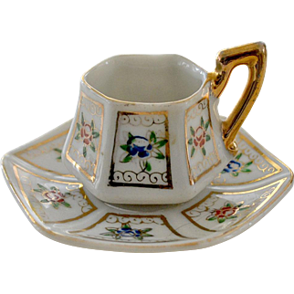 Miniature Cup and Saucer Hand Painted