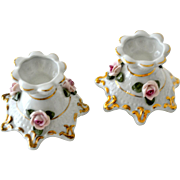 Pair Porcelain Candlesticks West Germany Applied Roses