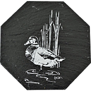 Six Natural Slate Coasters with Ducks Artist Signed